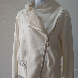 Harley-Davidson Women's Cream Zip Front Sweater M